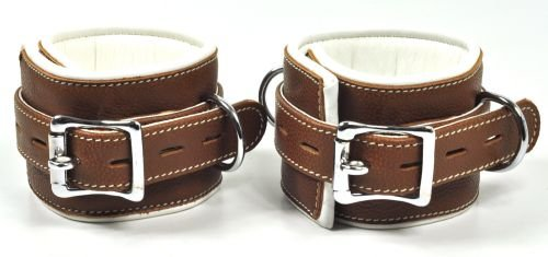 Fußfesseln aus Leder, braun/weiß, gepolstert