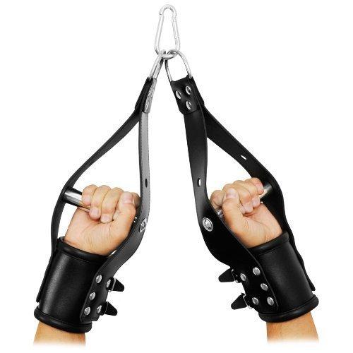 Leder-Hänge-Handfesseln mit Edelstahl Griff, gepolstert zum Aufhängen an den Händen