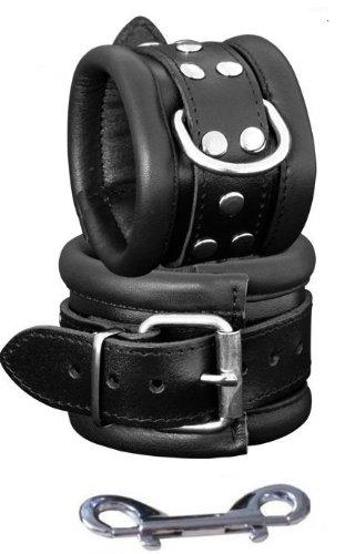 Gepolsterte Leder-Handfesseln, schwarz