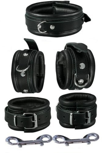 Echt-Leder Handfesseln und Fußfesseln + Halsband