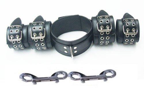 5 teiliges Leder-Fesselset, Halsband, Fußfesseln und Handfesseln+ 2 Doppel Karabiner