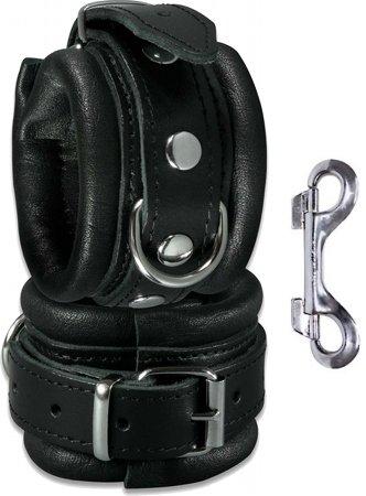 Leder-Handfessel gepolstert schwarz