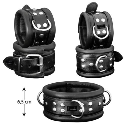 Fesselset Handfesseln Fußfessel und Halsfessel aus schwarzem Leder 6,5 cm breit [Sibada]