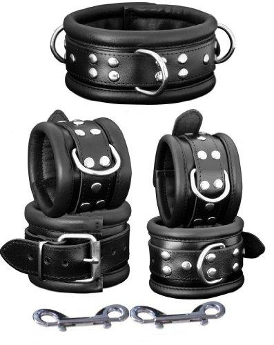 Gepolsterte Leder- Handfesseln und Fußfesseln + Halsband