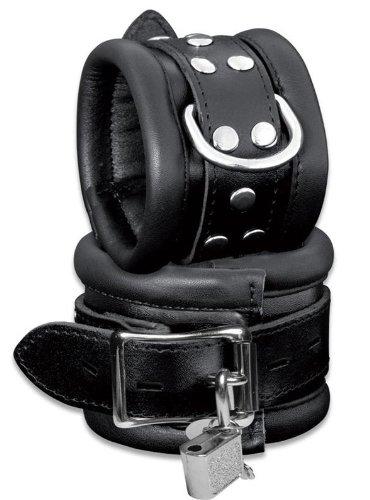 Abschließbare Leder-Handfesseln, gepolstert, schwarz, High Quality mit Schloss